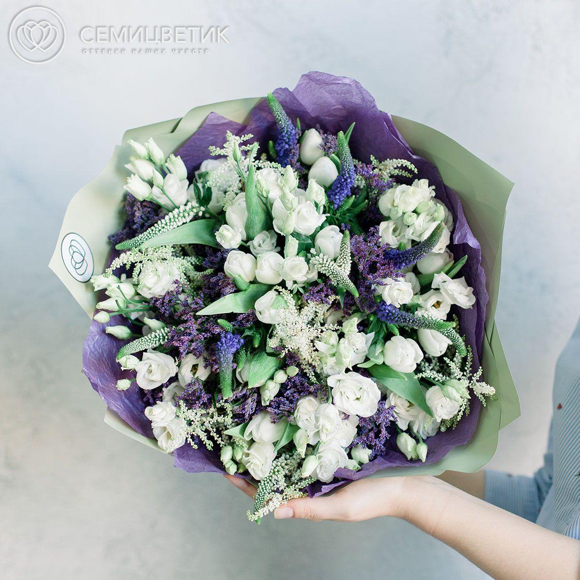 Букет из тюльпанов, анемонов и астильбы фото