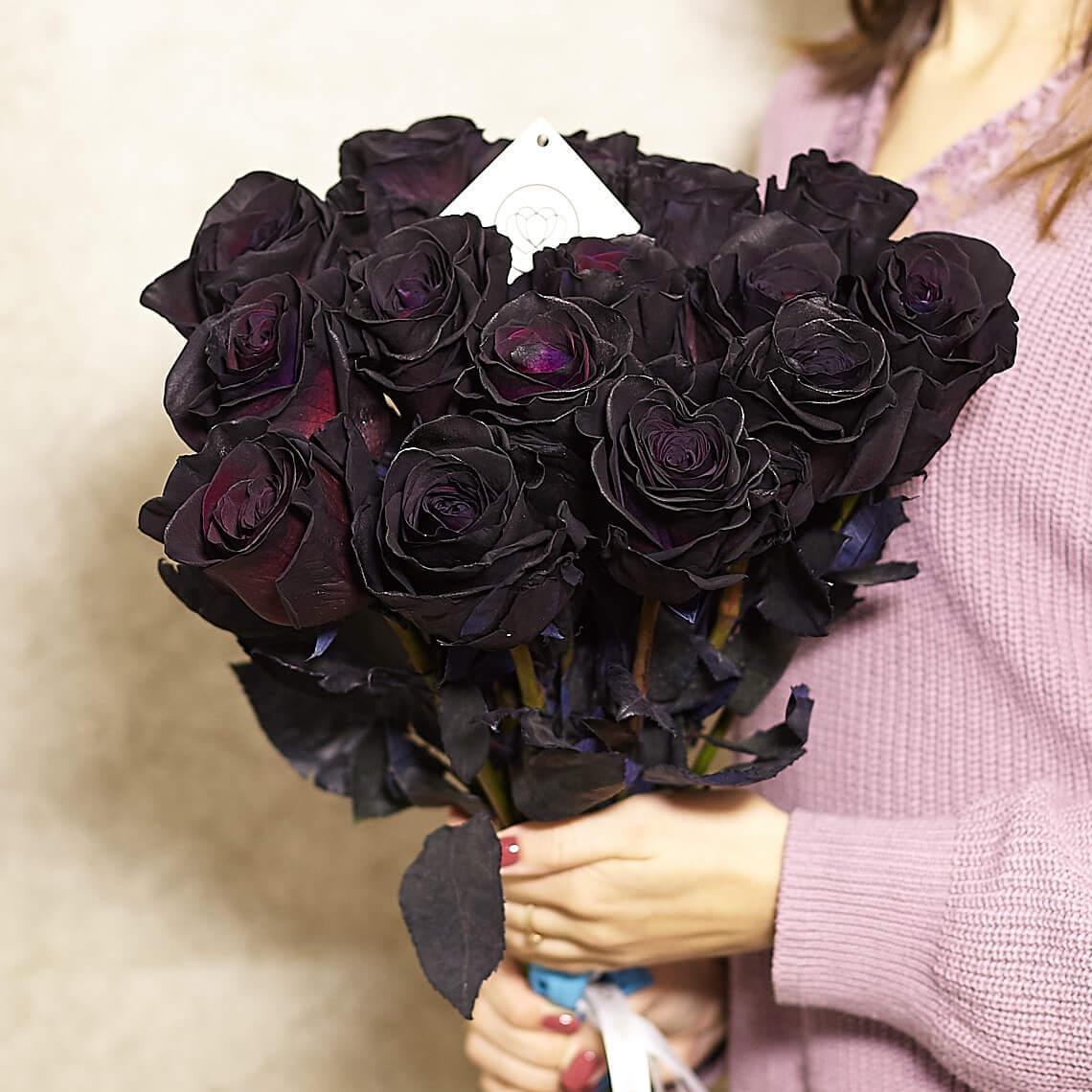 15 черных роз 60 см фото