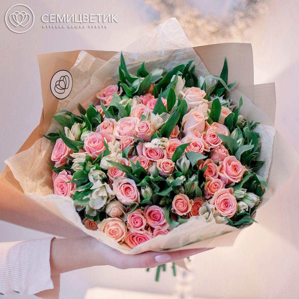13 альстромерий и 12 кустовых роз фото