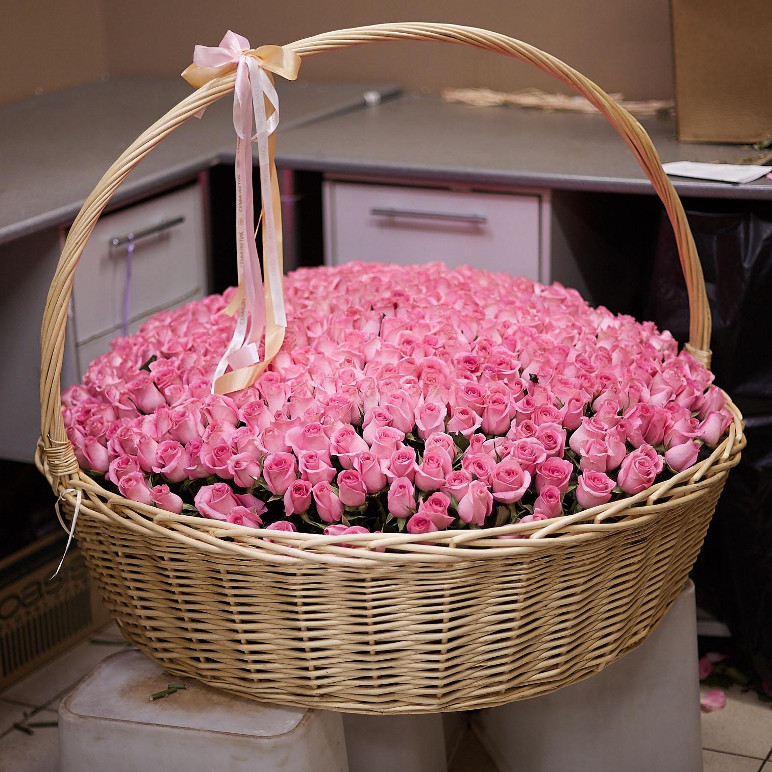501 розовая роза Premium 40 см в корзине фото