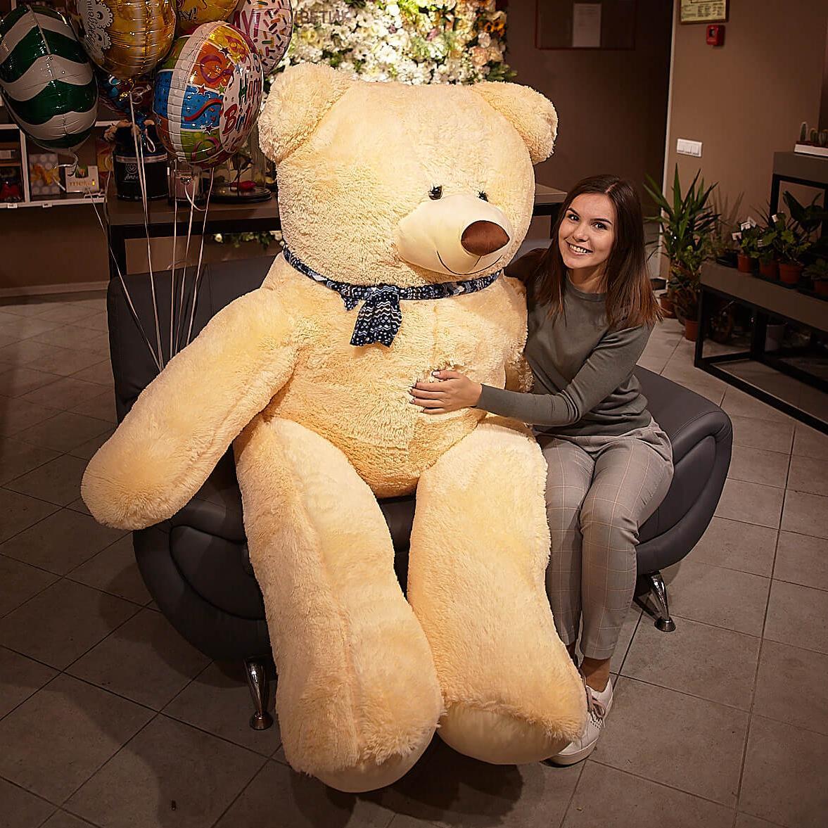 Медведь Балу Жемчужный 210 см фото