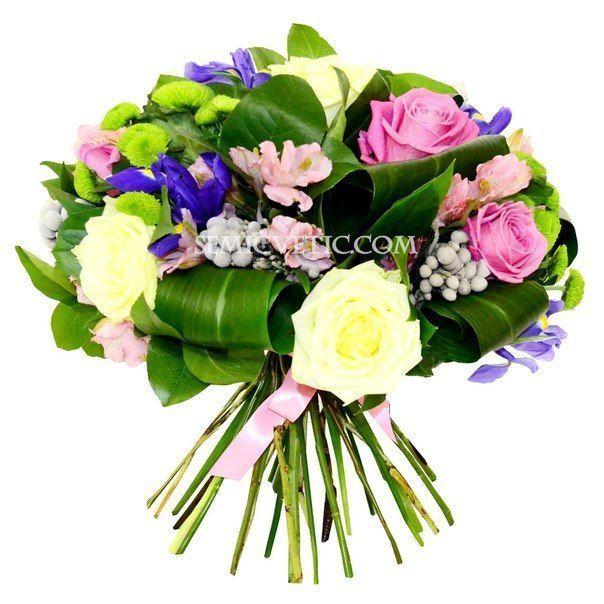 Букет из роз, хризантемы кустовой, альстромерии и ириса с зеленью фото