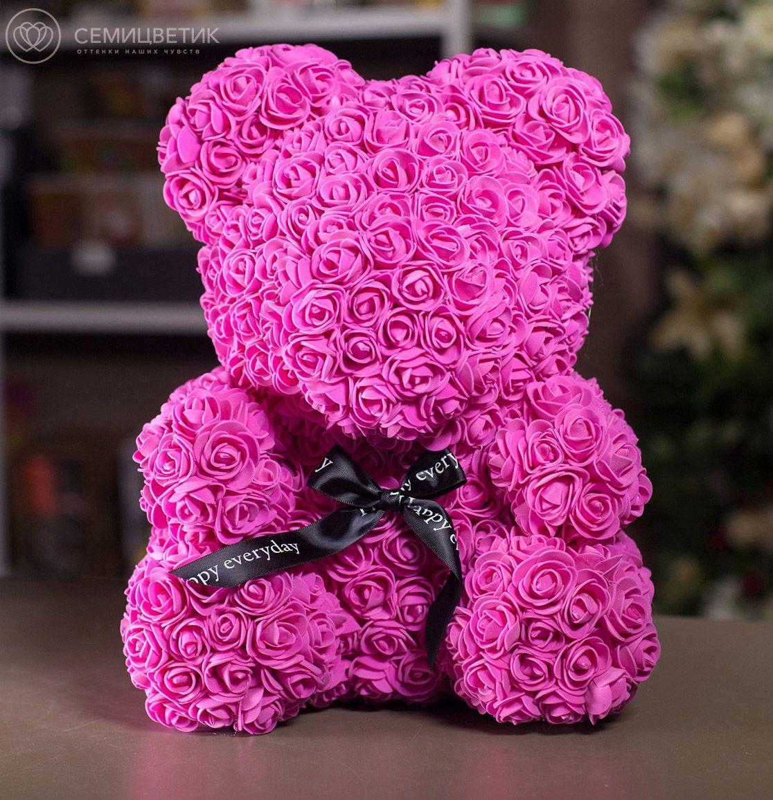 Мишка из роз малиновый с бантиком 40 см фото