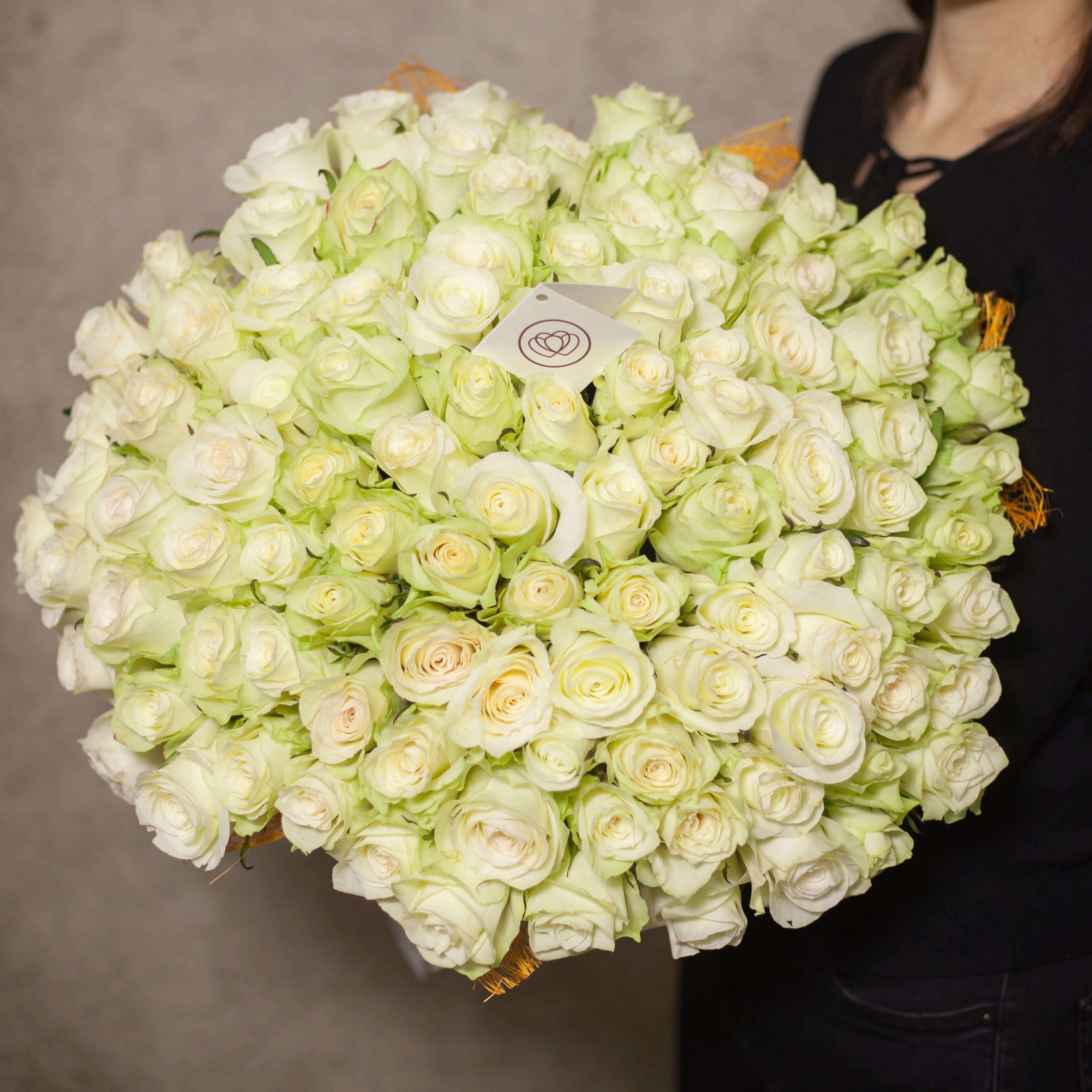 101 белая роза 40 см Premium SP фото