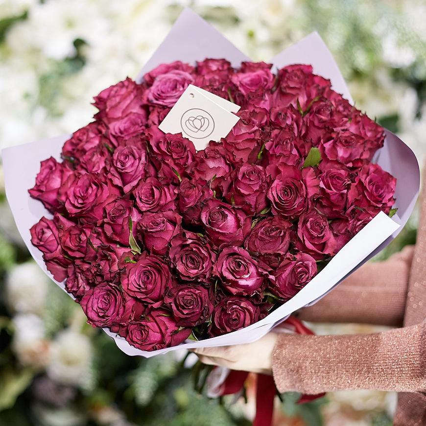 51 тёмно-фиолетовая роза 40 см Premium фото