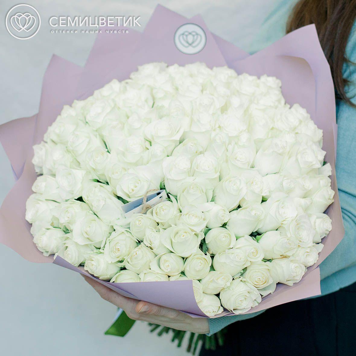 101 белая роза 40 см Premium фото