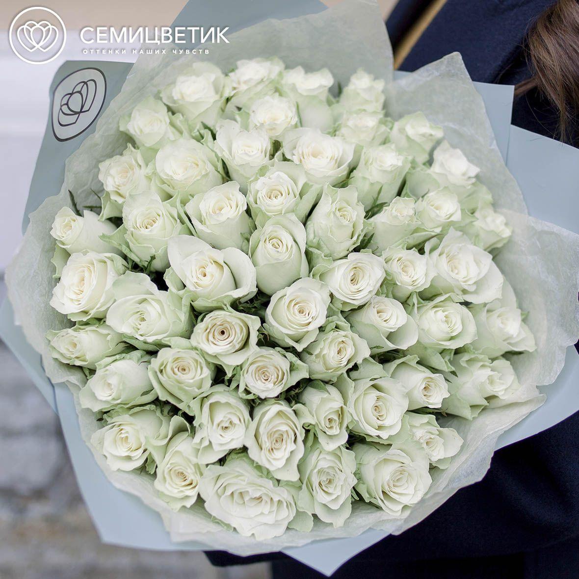 51 белая роза 40 см Premium фото