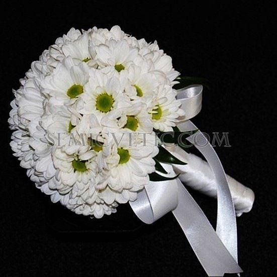 Свадебный букет из кустовой хризантемы фото