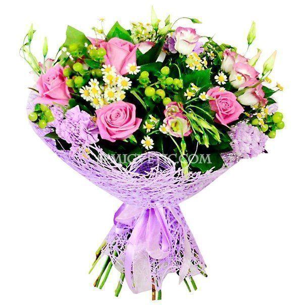 Букет из розы Аква, лизиантуса, гвоздики лунной и матрикарии фото