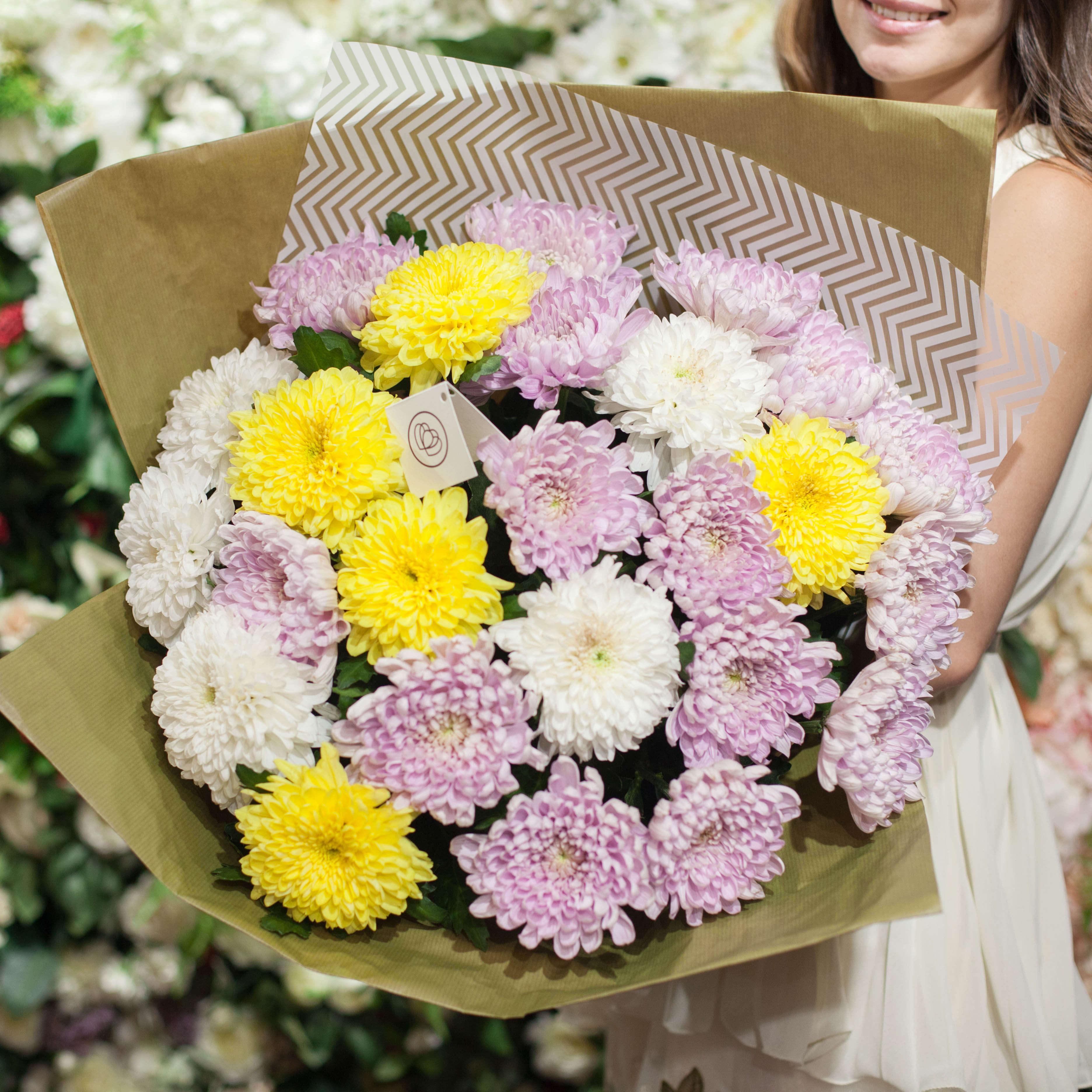 25 одноголовых хризантем микс фото