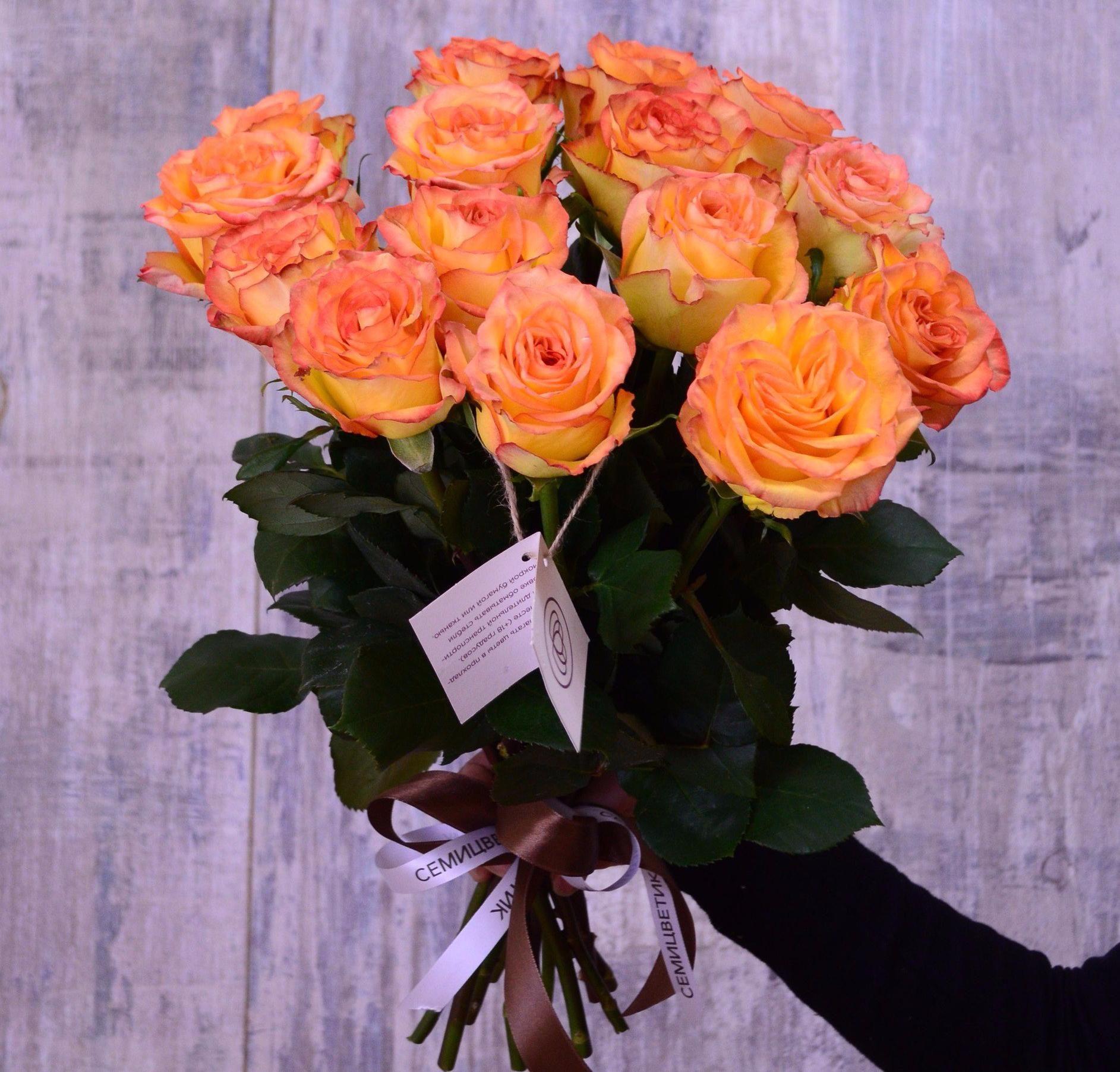 15 желтых с красной каймой роз High Magic 50 см фото