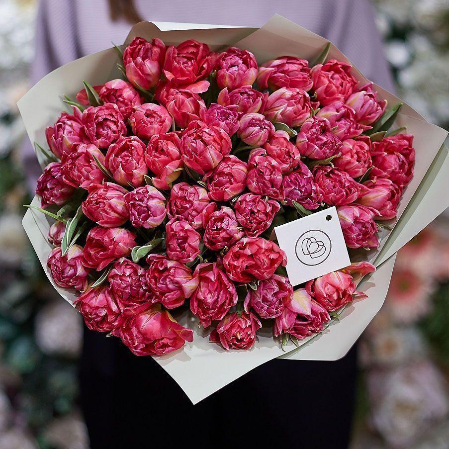 51 розовый пионовидный тюльпан фото