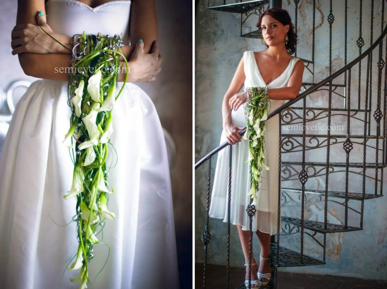 Свадебный букет-браслет из калл фото