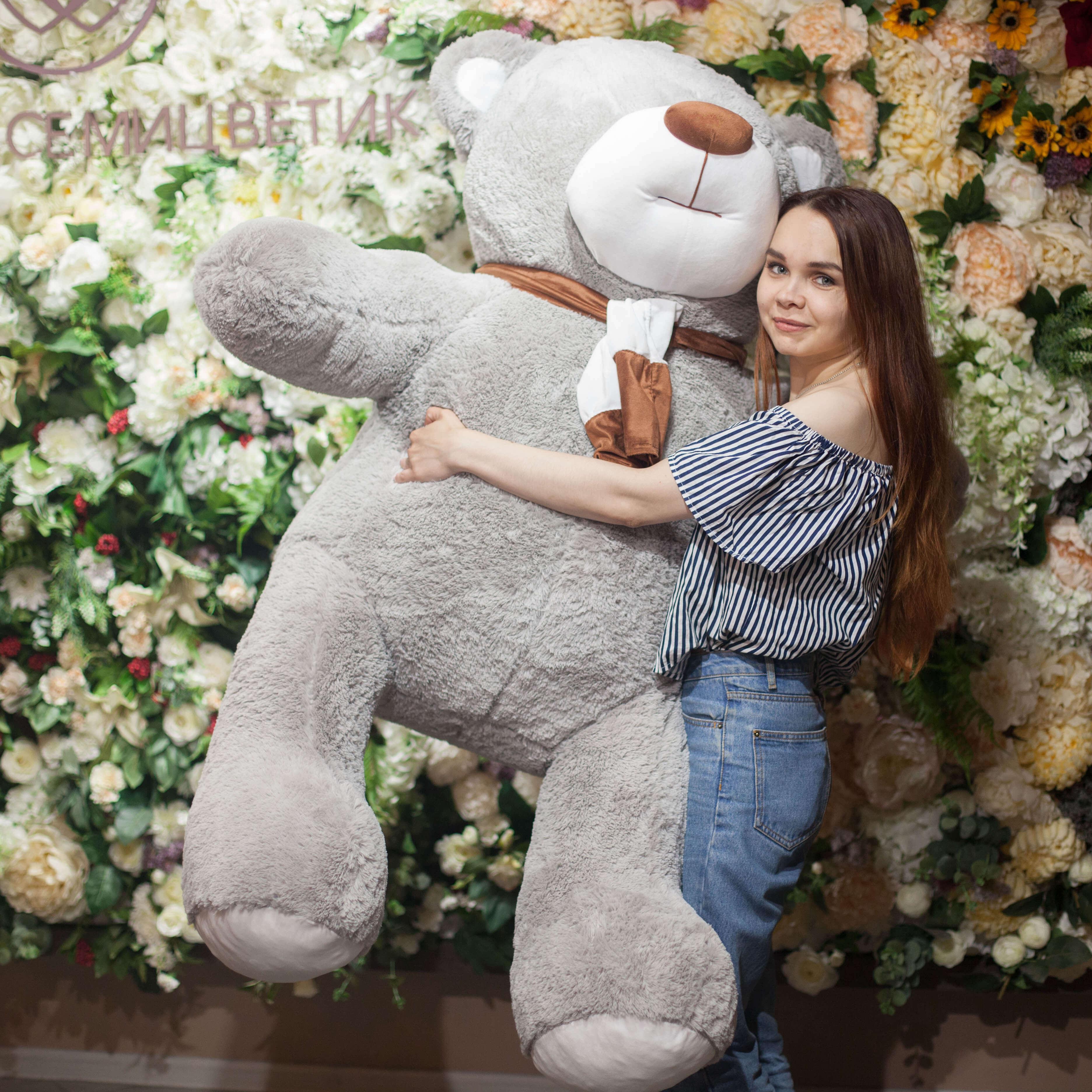 Плюшевый Мишка Барри Серый 170 см фото