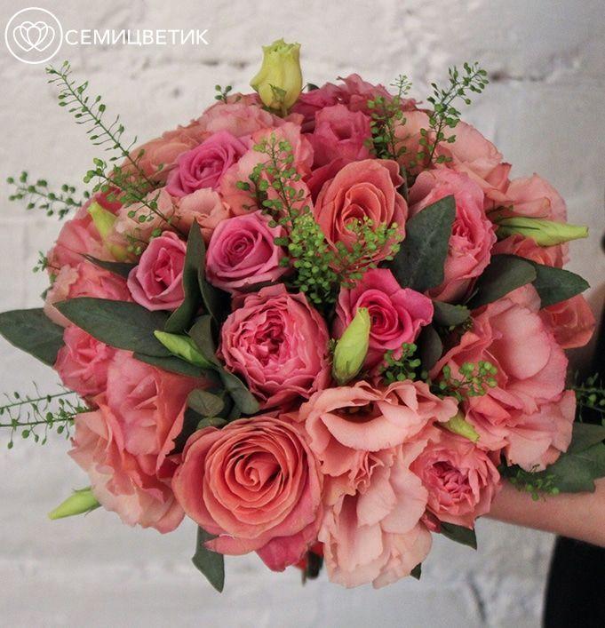 Свадебный букет из пионовидных роз, лизиантуса и эуста фото