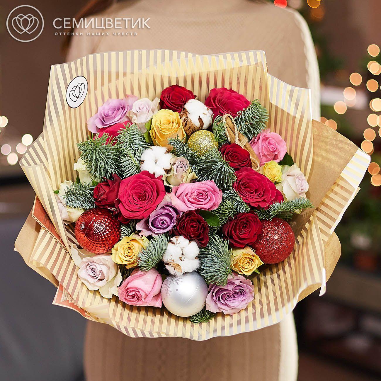 25 роз микс Premium с елью, корицей и хлопком фото