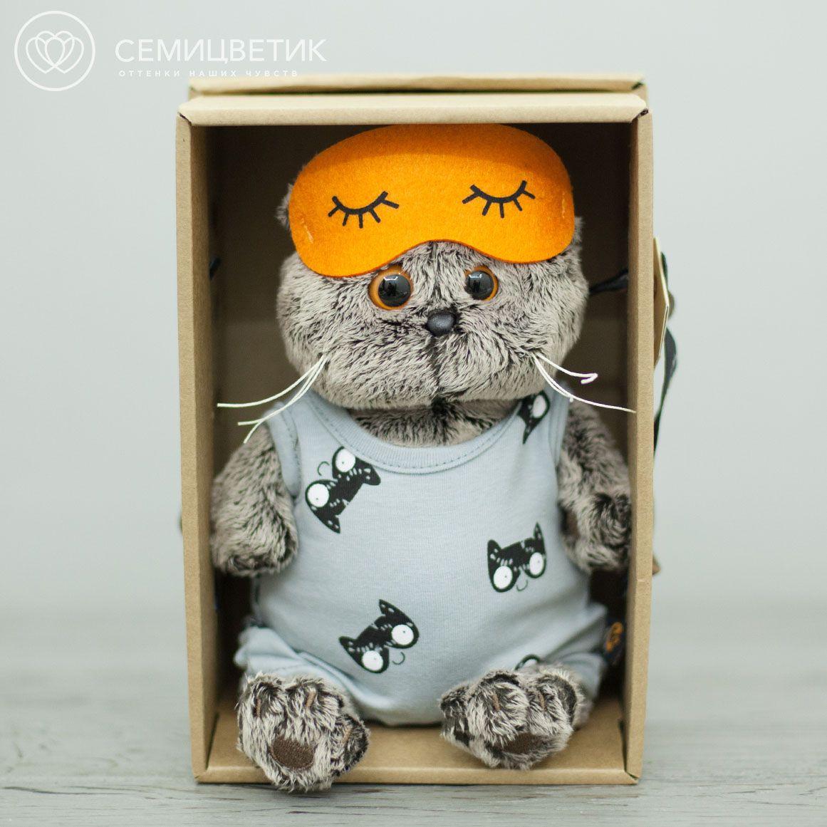 Басик в сером комбинезоне и маске для сна фото
