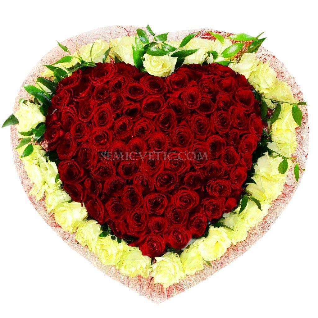 Букет сердце из 101 розы Ред Наоми и Вайт Наоми 60 см фото
