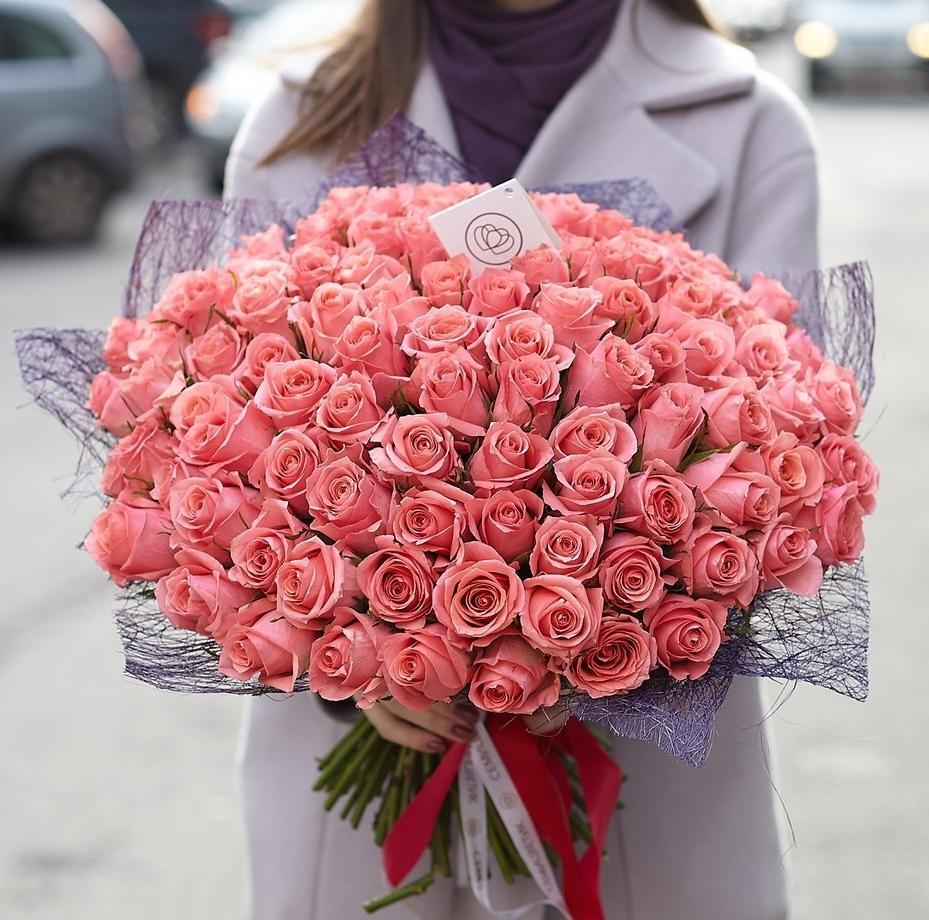 101 розовая роза 40 см Premium фото