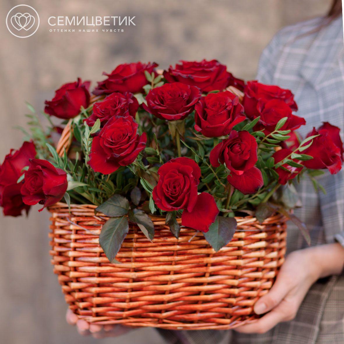 Композиция из 25 красных российских роз (Магия) 35 см в корзине фото