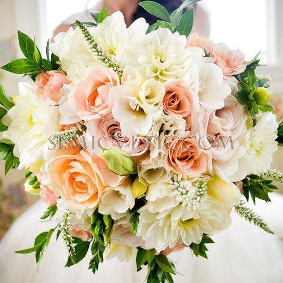 Свадебный букет из георгинов, лизиантуса и фрезии фото