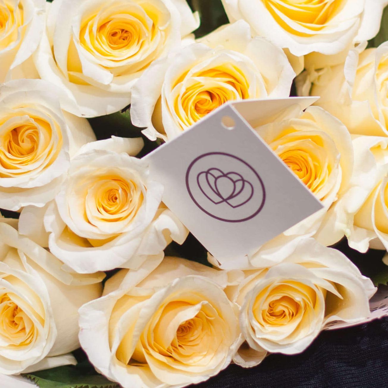 Кремовые розы Creem de la Creem 50 см фото