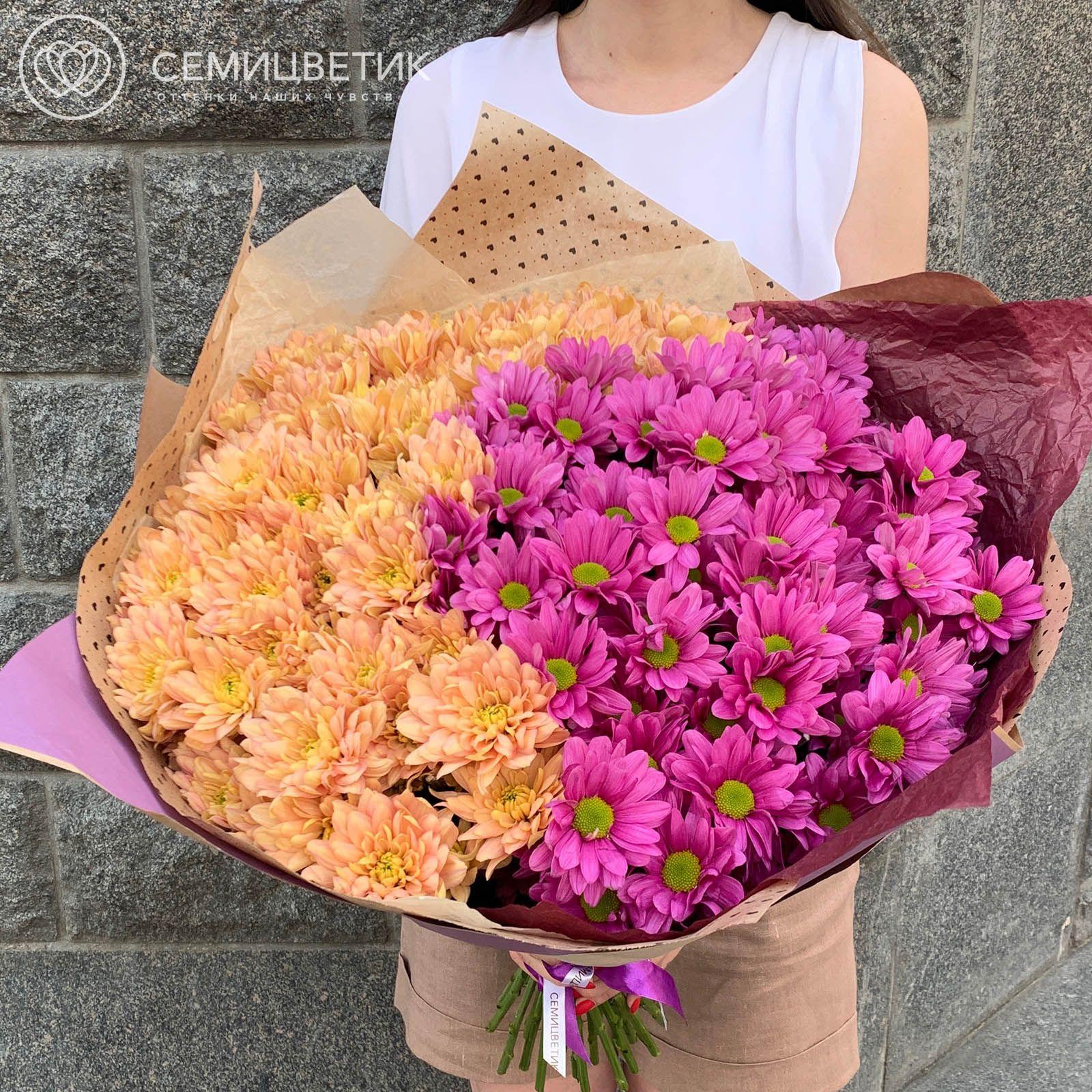 Букет-градиент розово-персиковый из 25 кустовых хризантем фото