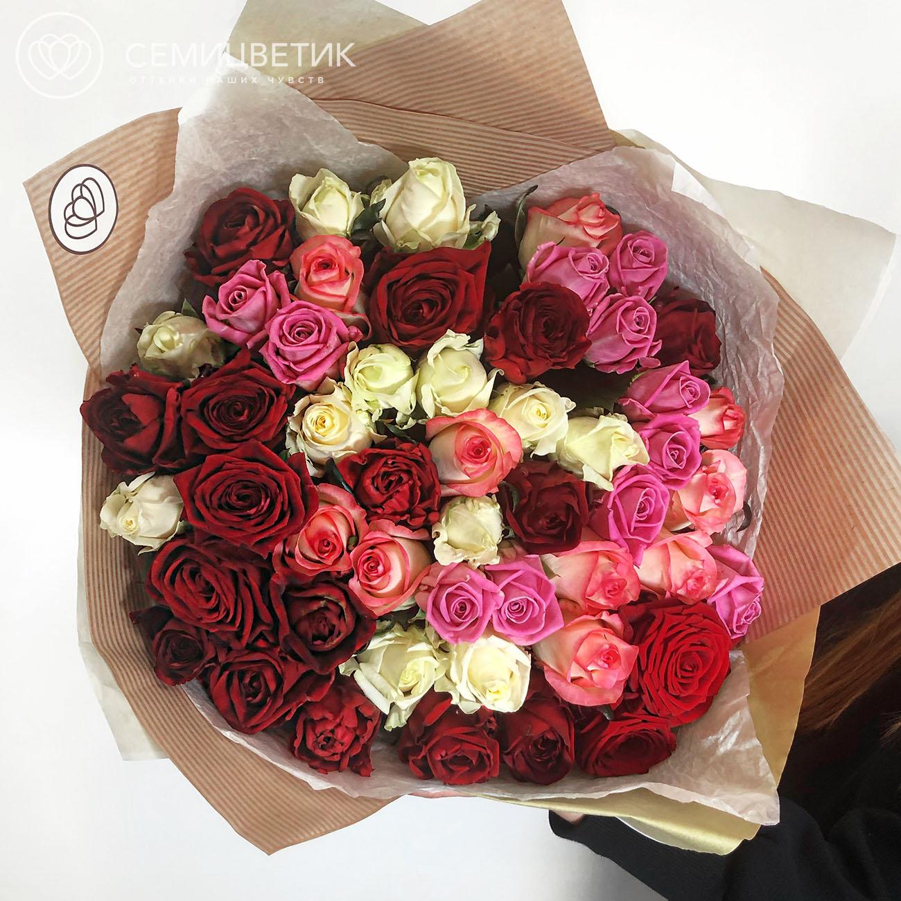 51 российская роза микс 60 см фото