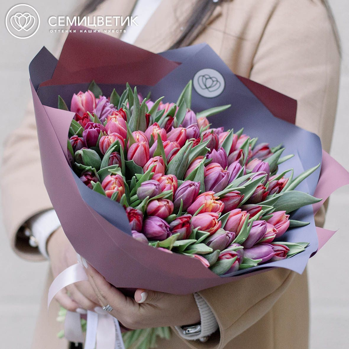 101 пионовидный тюльпан микс фото