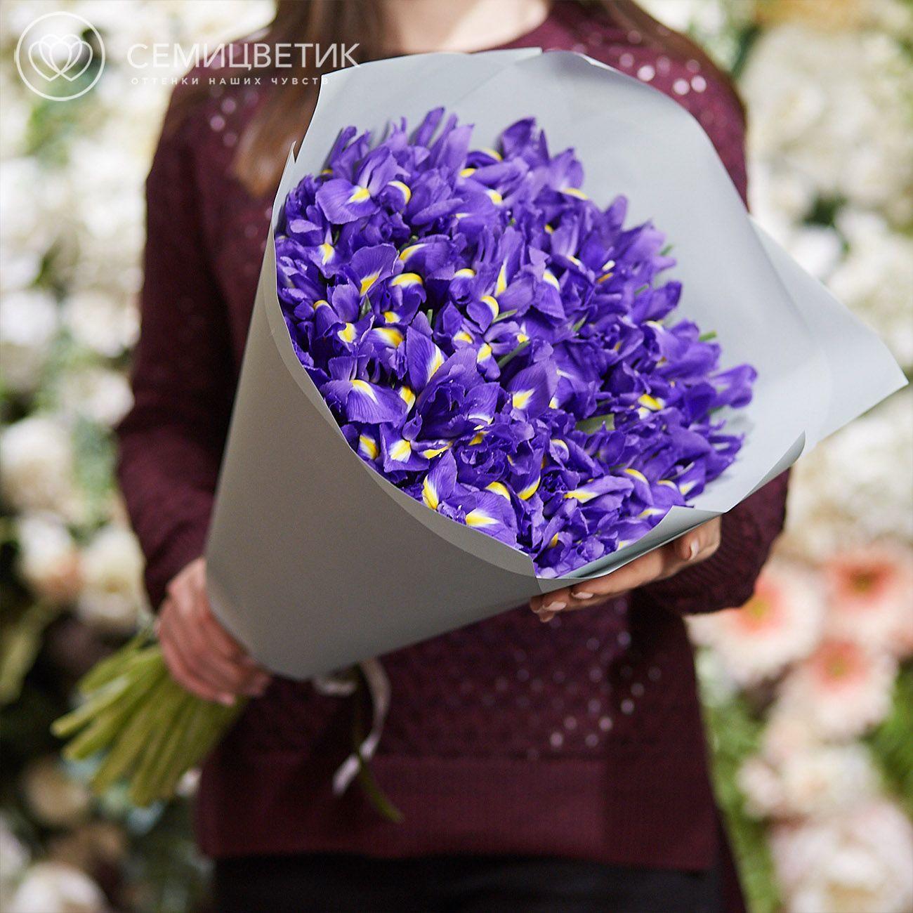 Букет из 51 синего ириса в дизайнерской пленке фото