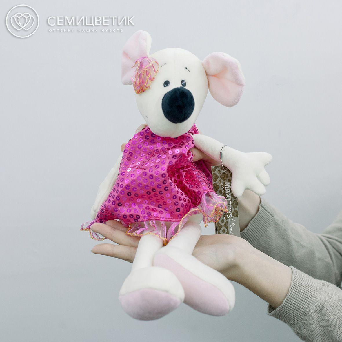 Крыса Василиса в бордовом платье 23 см фото