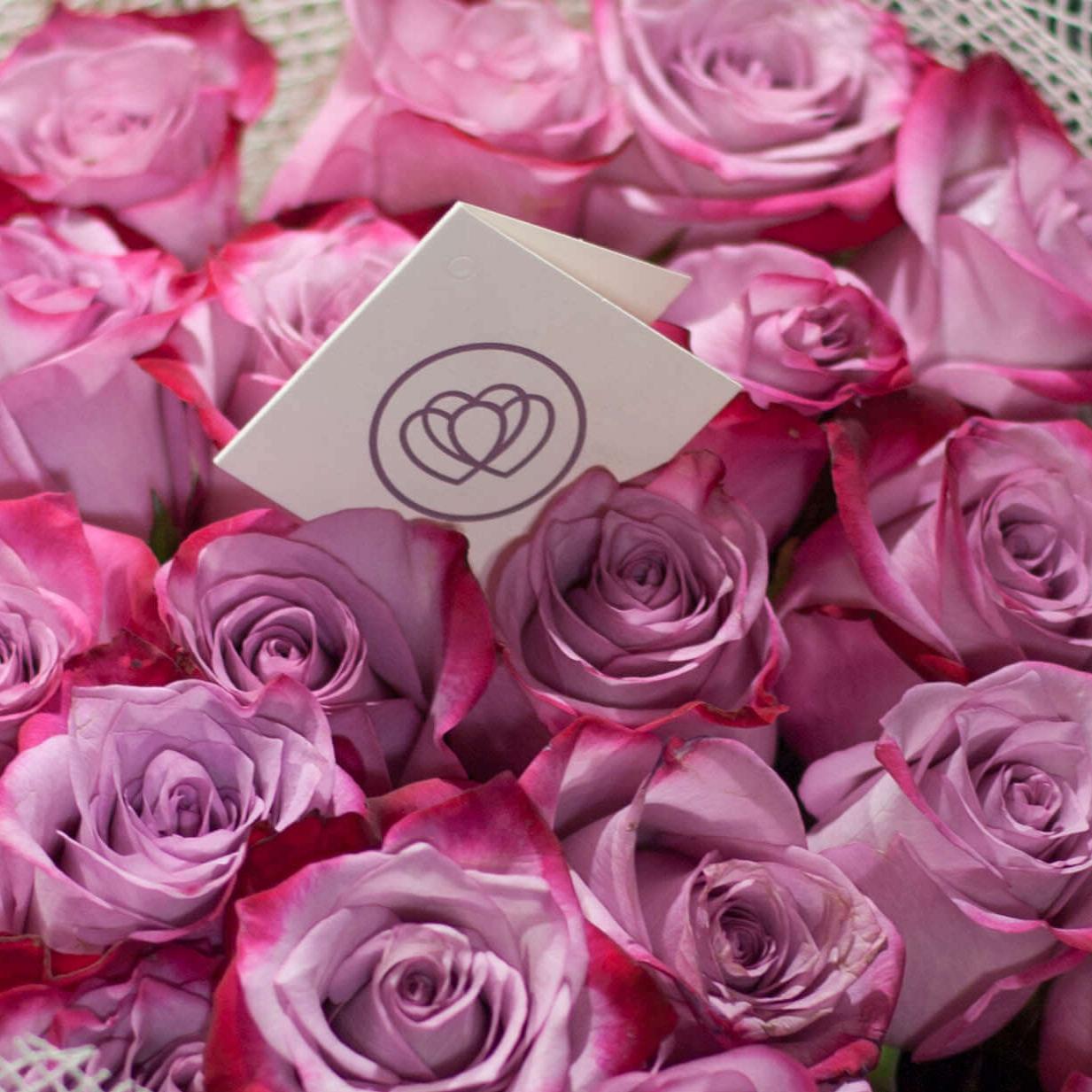 Сиреневые розы с фиолетовой каймой Deep Purple 60 см фото