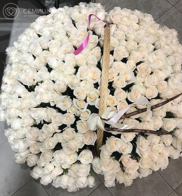301 белая роза в корзине фото