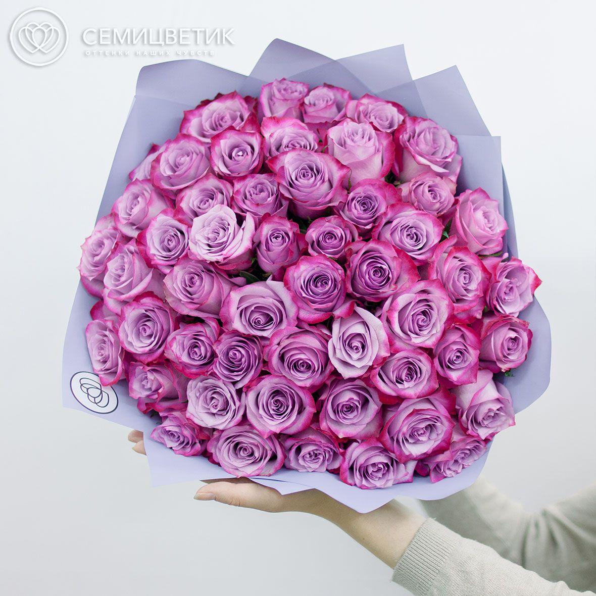 Букет из 51 сиреневой с фиолетовой каймой розы Deep Purple 50 см в дизайнерской пленке фото