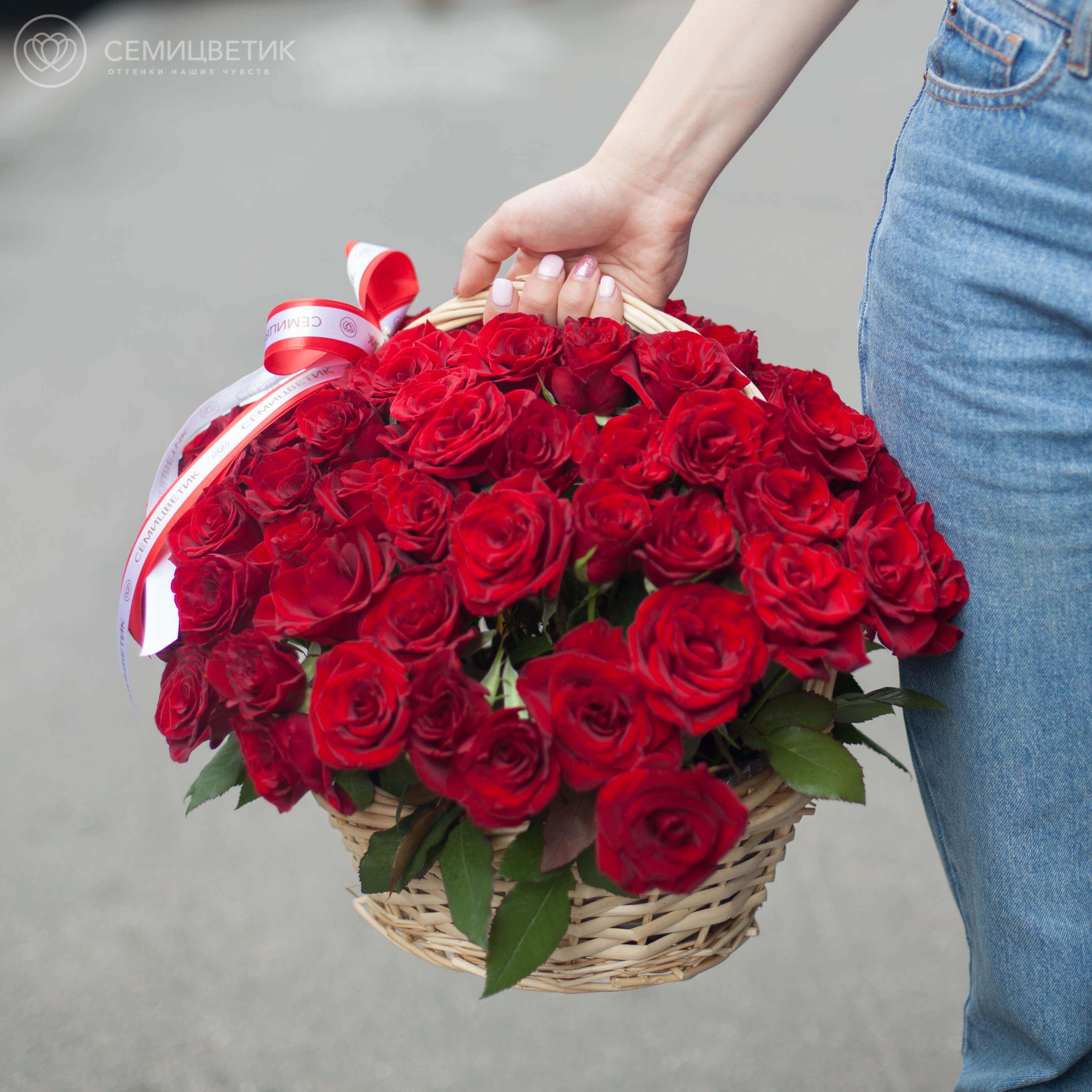 75 красных российских роз (Магия) 35 см в корзине фото