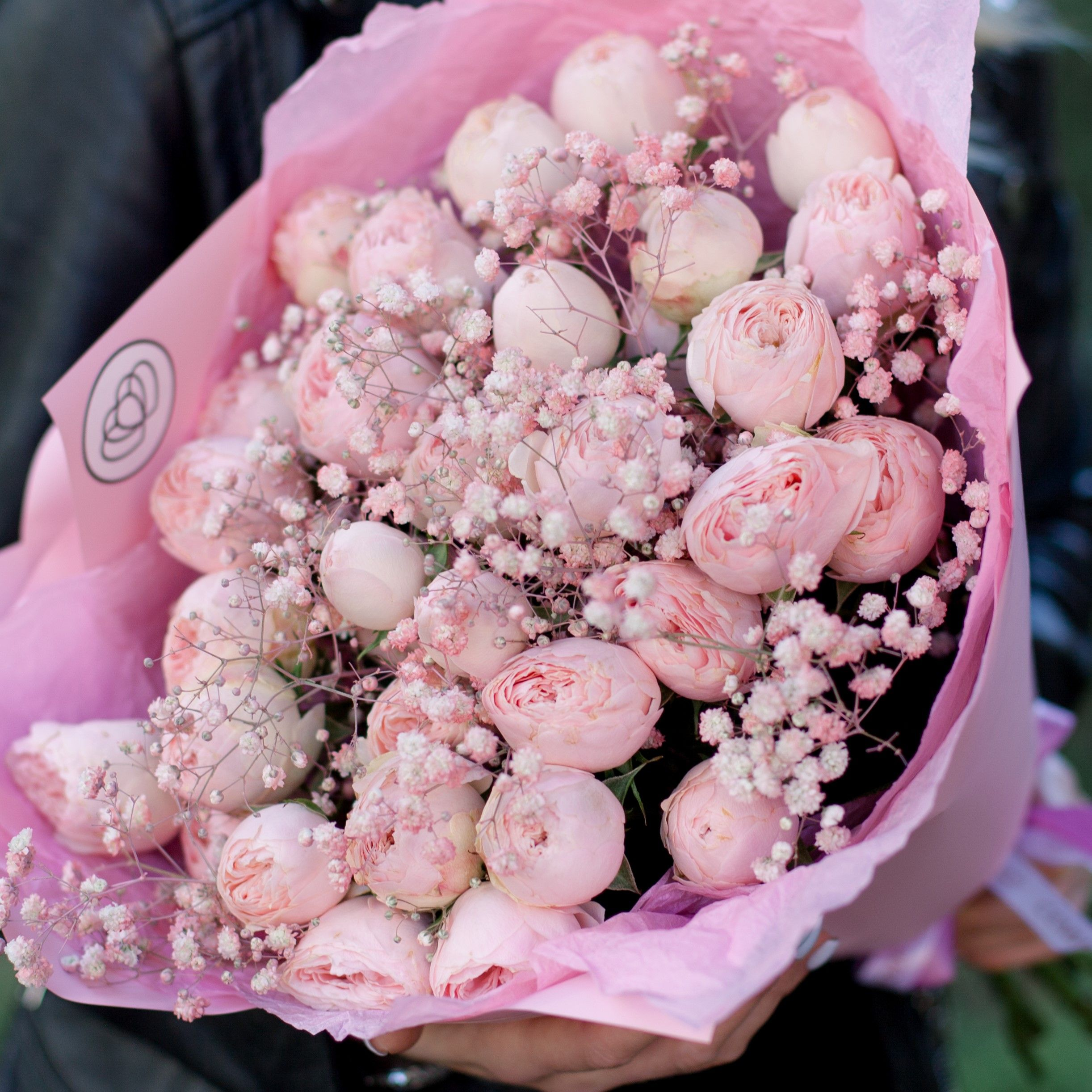 9 нежно-розовых кустовых пионовидных роз Mansfield Park с розовой гипсофилой фото
