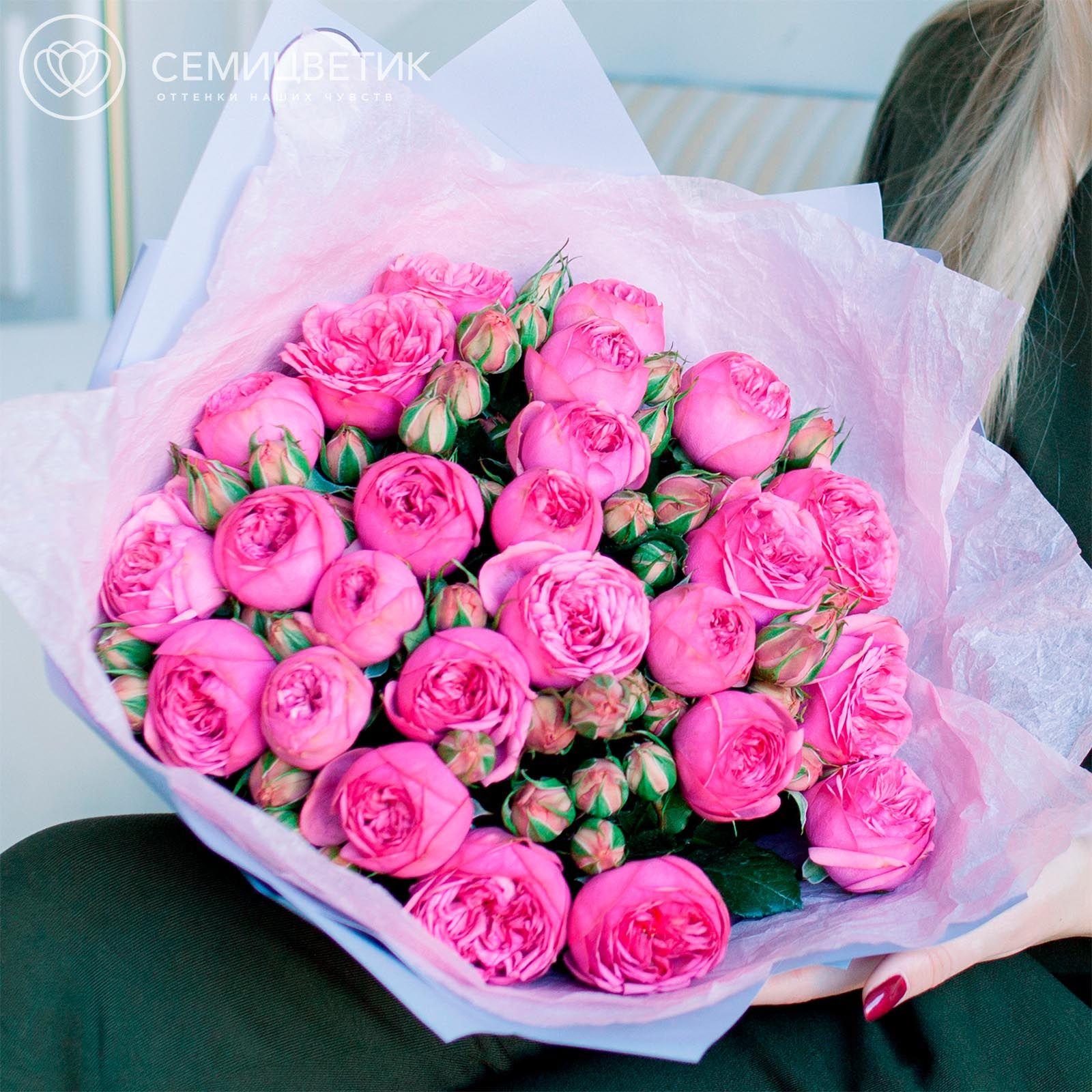 25 пионовидных кустовых роз Pink Piano фото