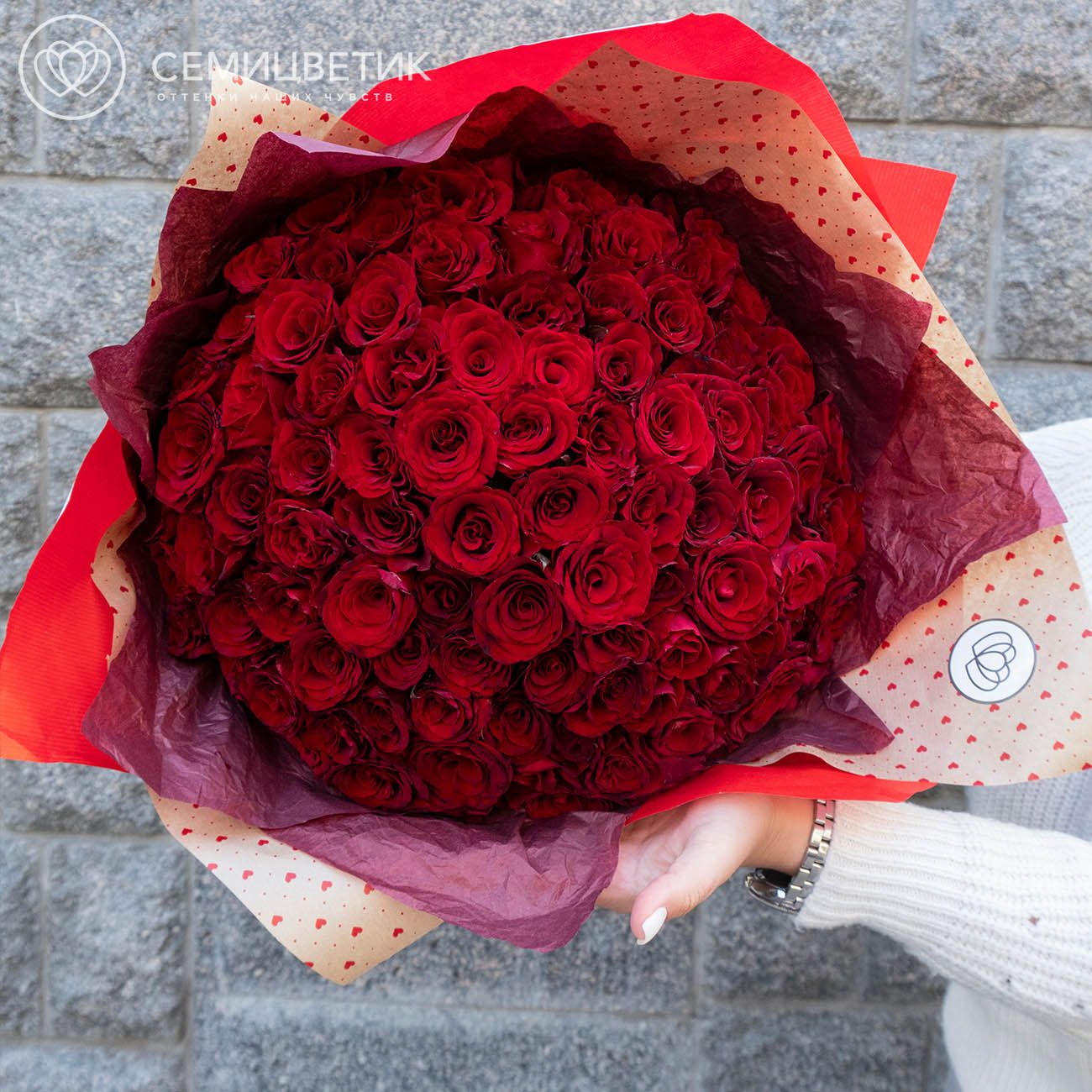 101 красная роза Магия 35 см фото