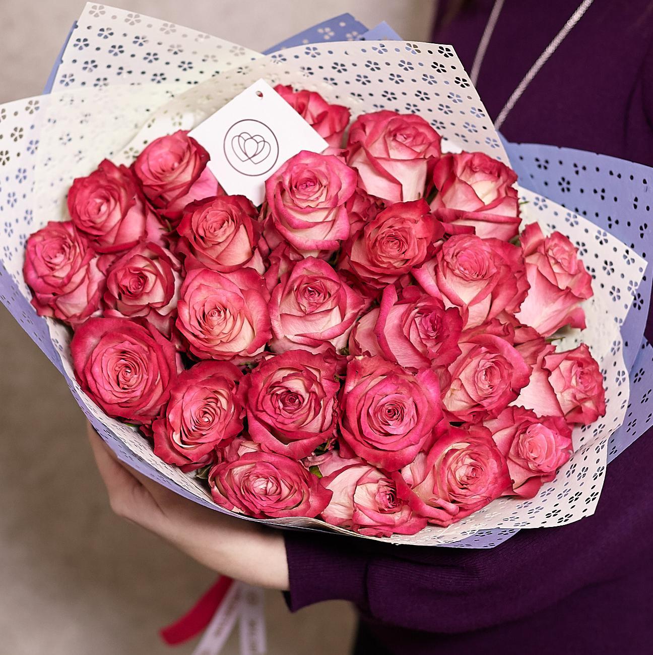25 роз биколор 40 см Premium фото