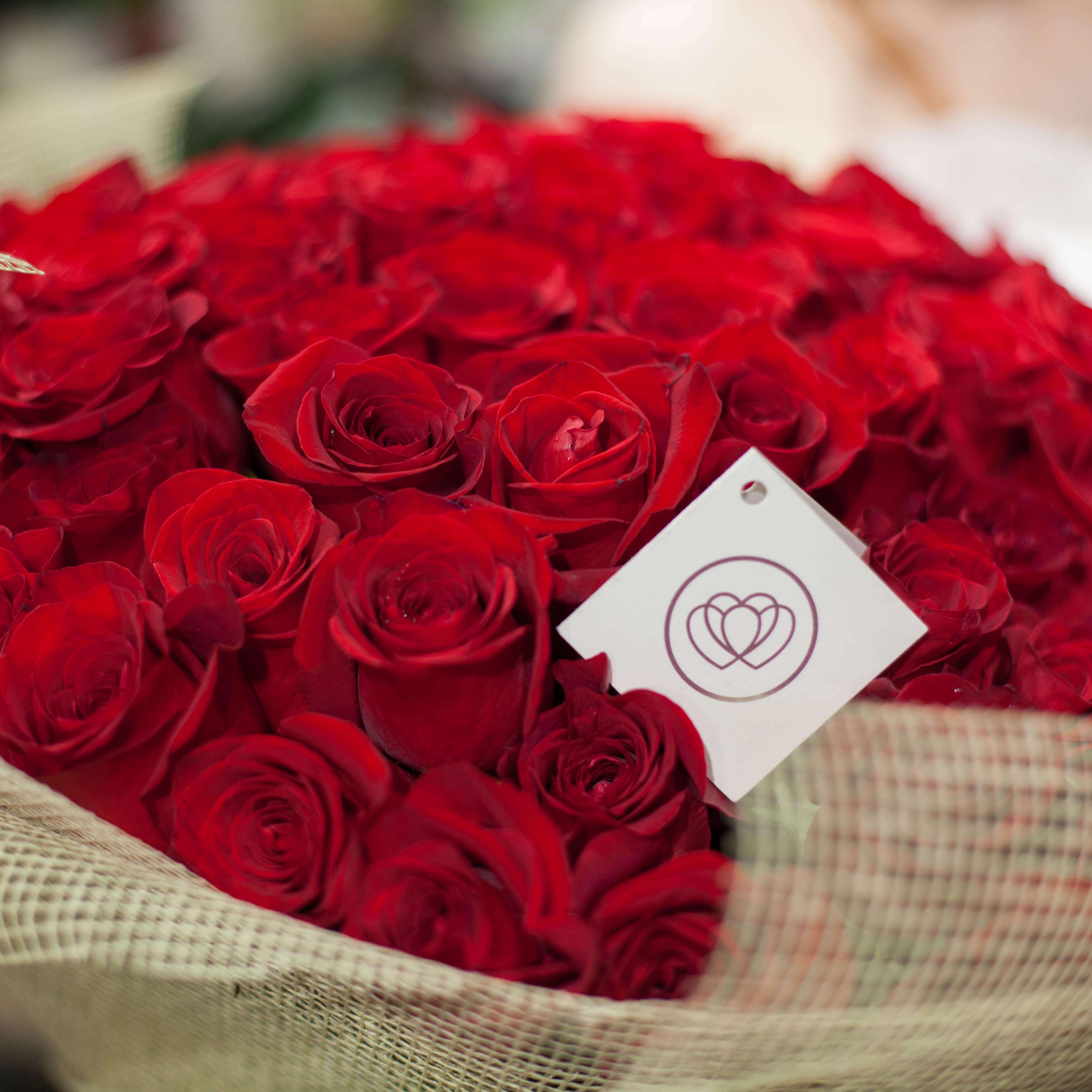 45 красных роз Freedom 50 см фото