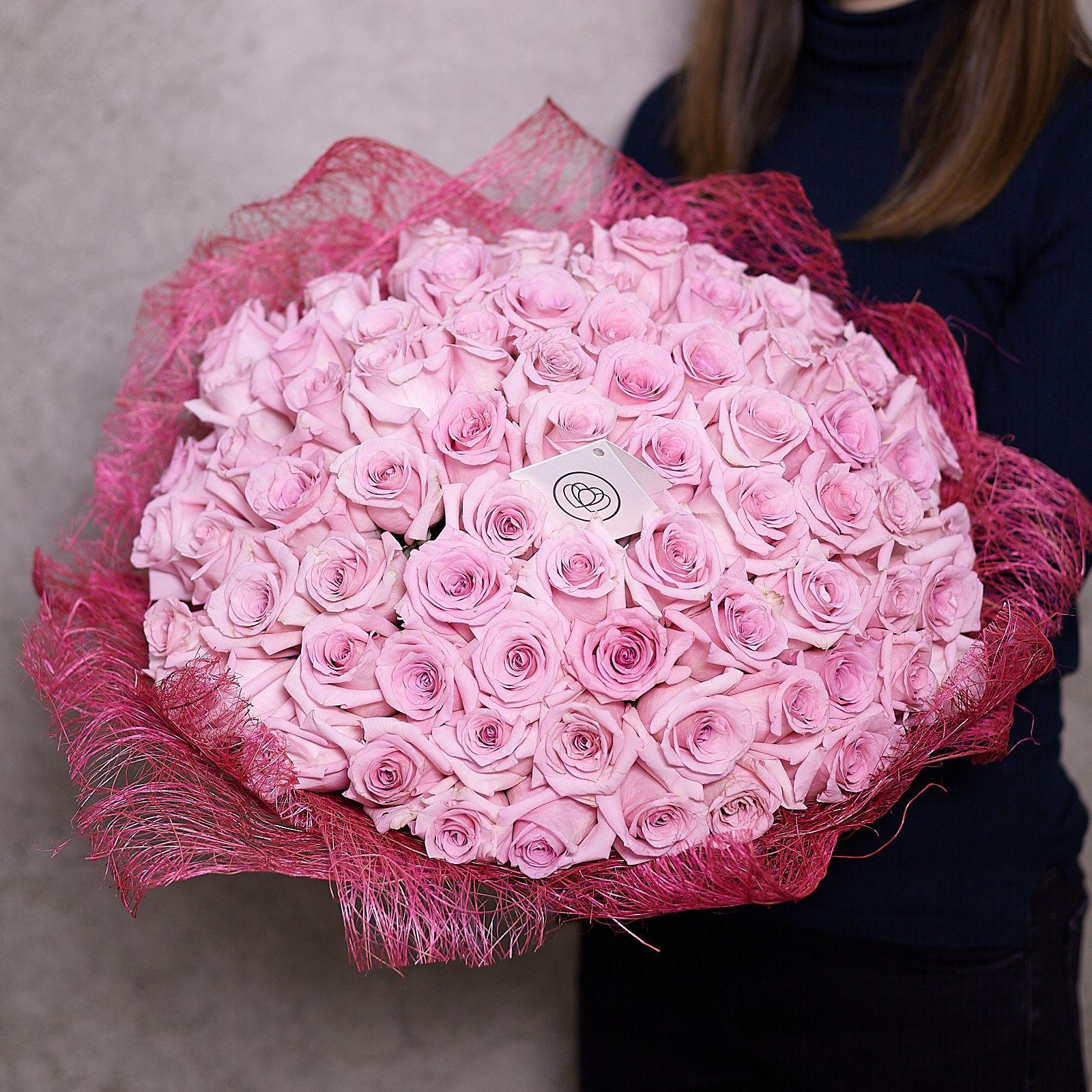 75 розовых роз Jessika 50 см фото