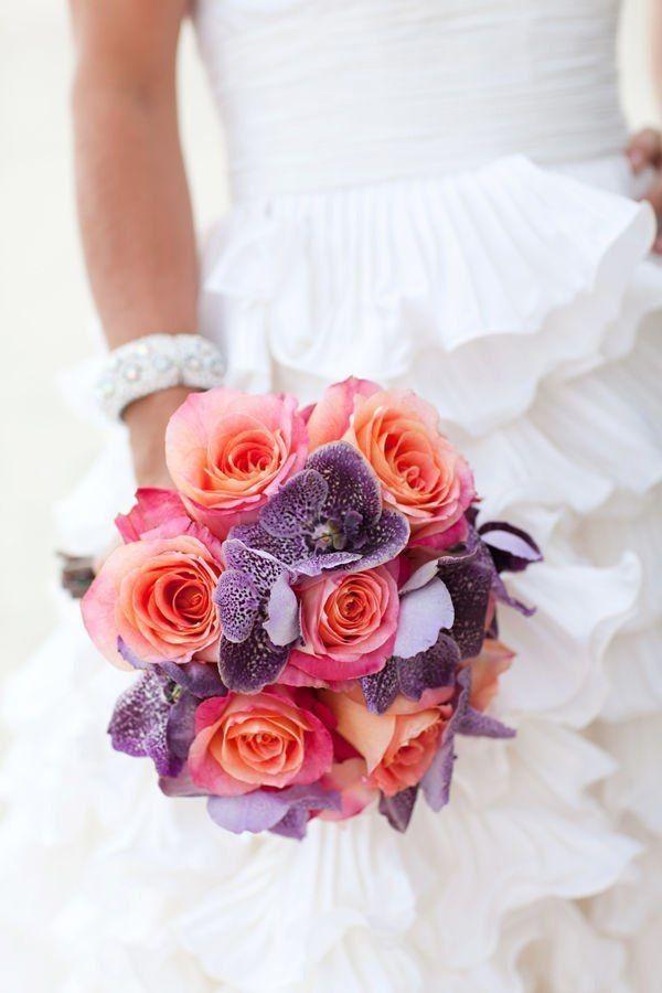 Свадебный букет из роз и орхидеи ванды фото