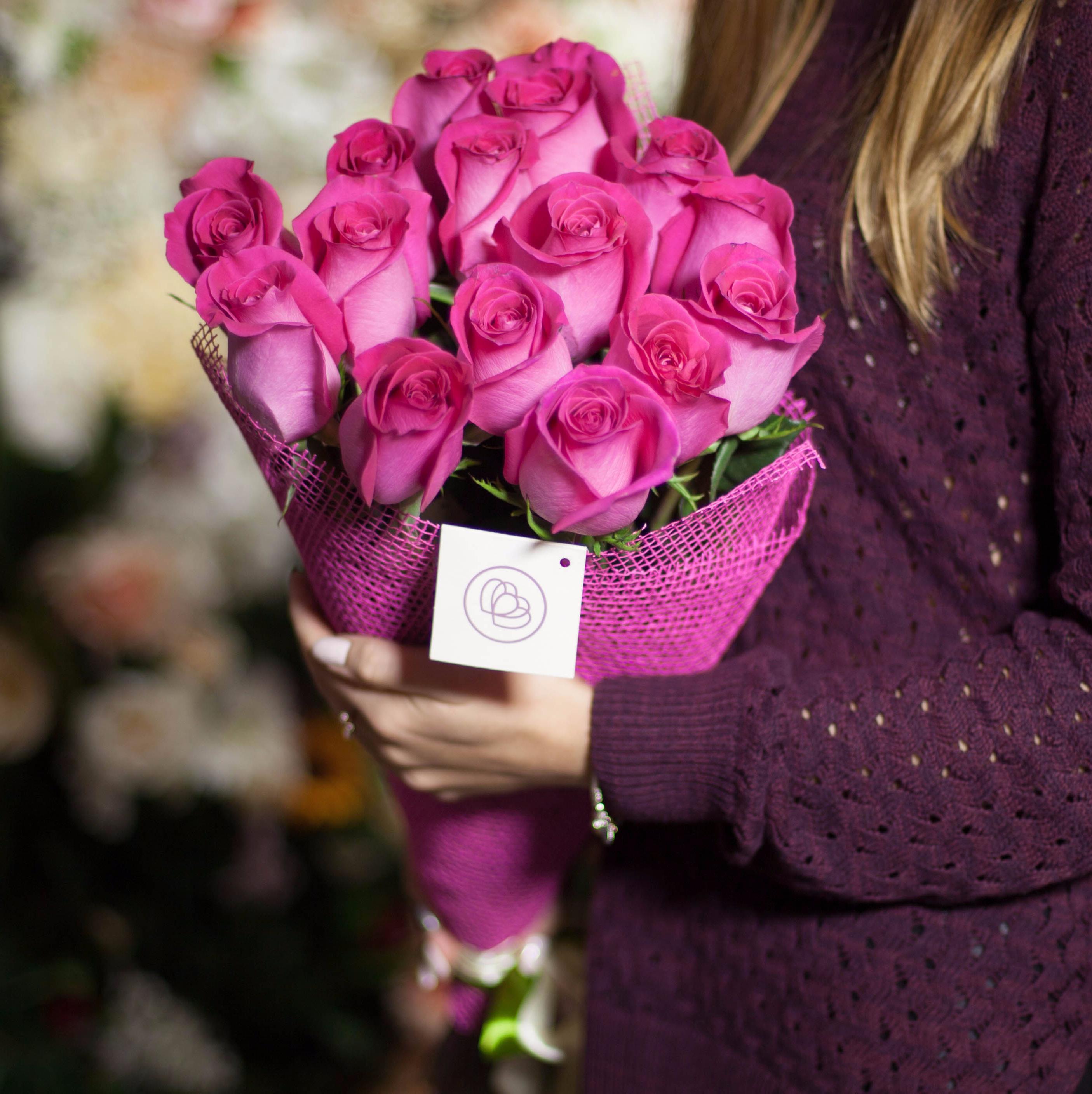 15 розовых роз Topaz 70 см фото