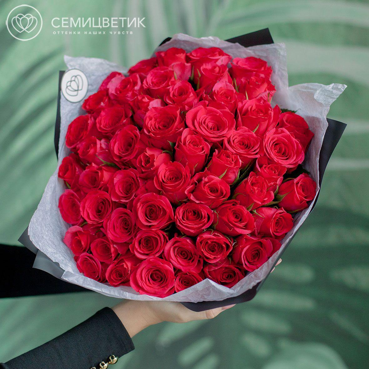 51 малиновая роза 40 см Premium фото
