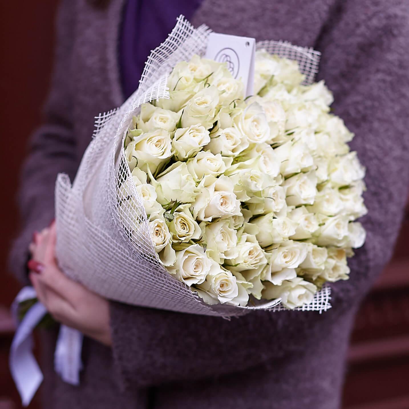 51 белая роза 40 см Standart SP фото
