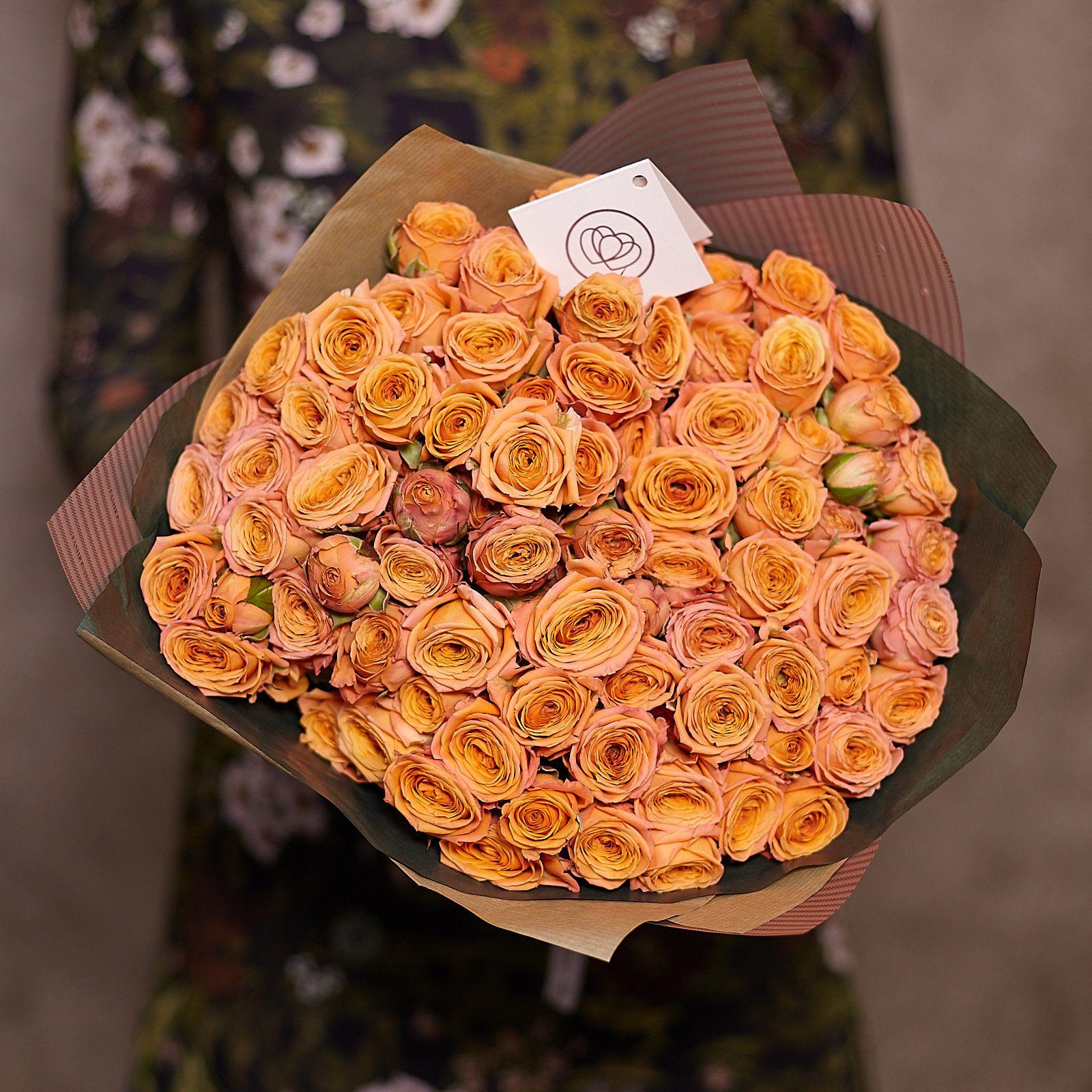 25 оранжевых кустовых роз 40 см фото