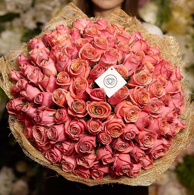 101 коралловая роза 40 см Premium фото