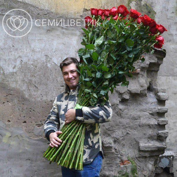 51 красная роза Freedom 150 см фото