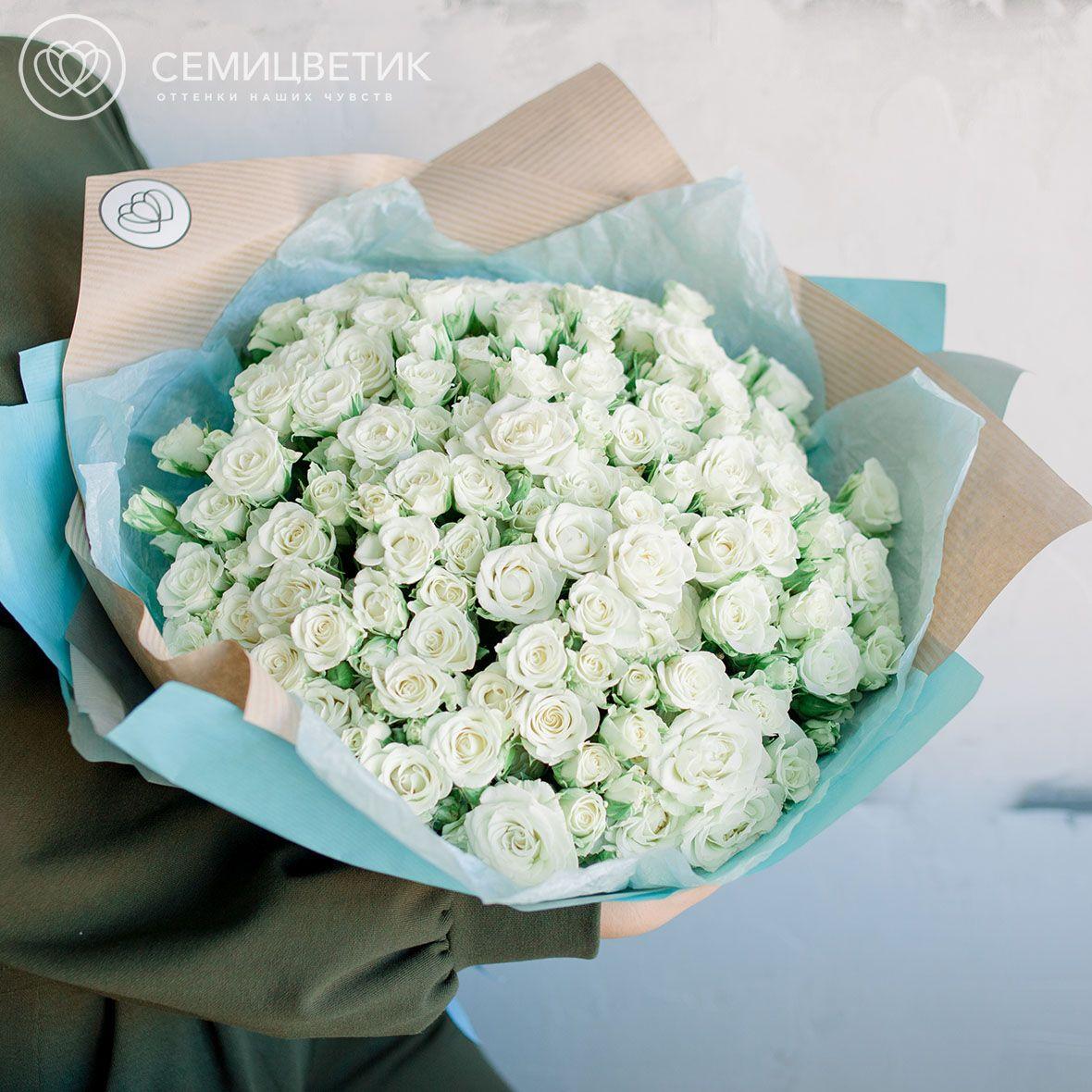 51 белая кустовая роза Snowflake 40 см SP фото