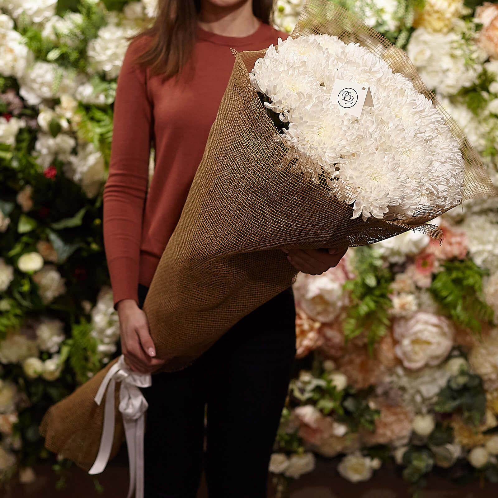 15 одноголовых хризантем 100 см фото